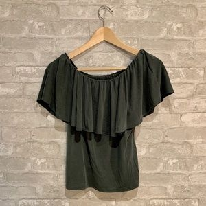 Off the shoulders forest green Hummingbird top.